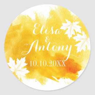 Reserva moderna del boda del amarillo de la etiquetas redondas