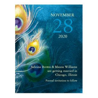 Reserva moderna del boda del azul de pavo real la postal