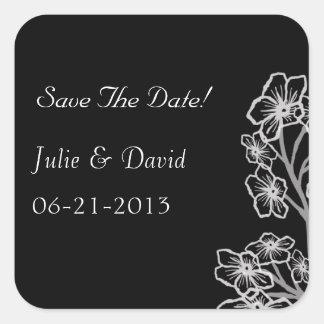 Reserva moderna del boda la fecha pegatina cuadrada