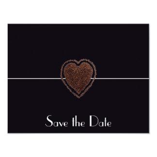 Reserva moderna del café del corazón el vintage invitación 10,8 x 13,9 cm