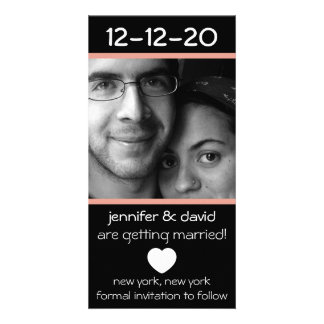 Reserva moderna del corazón las fechas (melocotón) tarjeta fotográfica personalizada