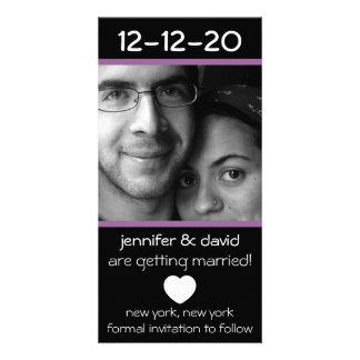 Reserva moderna del corazón las fechas (púrpura de plantilla para tarjeta de foto