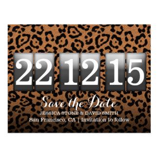 Reserva moderna del estampado leopardo la fecha postal