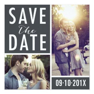 """Reserva moderna el collage de la foto de la fecha invitación 5.25"""" x 5.25"""""""