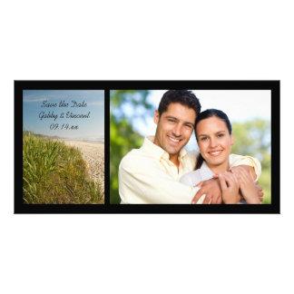 Reserva natural del boda de playa la fecha tarjetas fotográficas