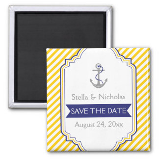 Reserva náutica blanca amarilla del boda del ancla imanes