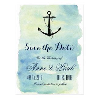 Reserva náutica de la acuarela la fecha tarjetas postales