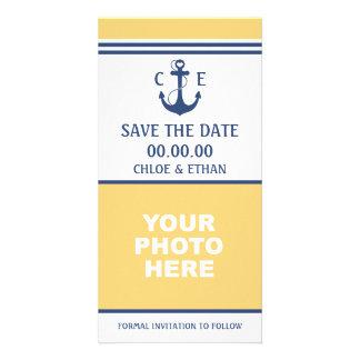 Reserva náutica de la foto la fecha tarjeta fotografica personalizada