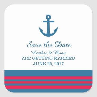 Reserva náutica del ancla del rojo azul los calcomanias cuadradas