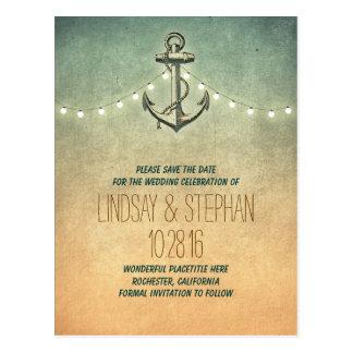 reserva náutica del ancla del vintage las postales