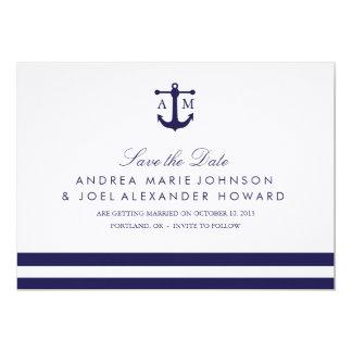 Reserva náutica del boda de la marina de guerra la invitación 12,7 x 17,8 cm