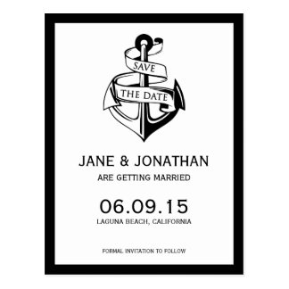 Reserva náutica del boda del ancla la fecha postales