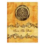 reserva náutica del boda del compás rústico la tarjetas postales