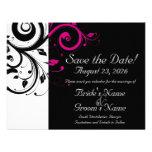 Reserva negra, blanca, fucsia del boda del remolin invitaciones personalizada