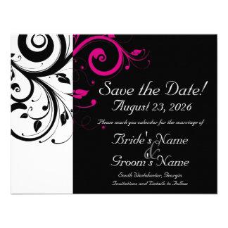 Reserva negra blanca fucsia del boda del remolin invitaciones personalizada