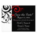 Reserva negra, blanca, roja del boda del remolino  invitación personalizada