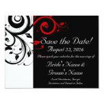 Reserva negra, blanca, roja del boda del remolino invitación 10,8 x 13,9 cm