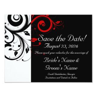 """Reserva negra, blanca, roja del boda del remolino invitación 4.25"""" x 5.5"""""""
