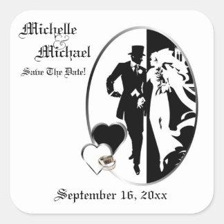 Reserva negra clásica del blanco del boda de pegatina cuadrada