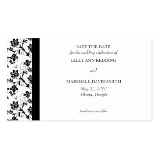 Reserva negra de la elegancia la tarjeta de fecha tarjetas de visita