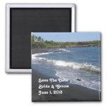 Reserva negra de la playa de la arena el imán de l