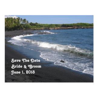 Reserva negra de la playa de la arena la postal de