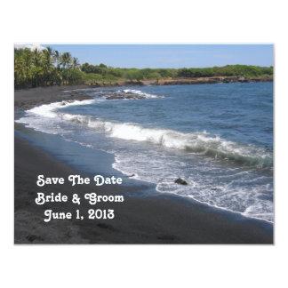 "Reserva negra de la playa de la arena la tarjeta invitación 4.25"" x 5.5"""