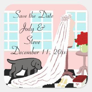 Reserva negra del boda de Labrador la fecha Calcomanía Cuadradas Personalizadas