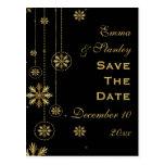 Reserva negra del boda del invierno de los copos tarjetas postales