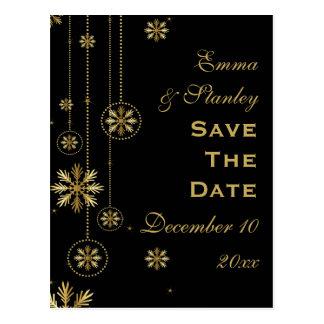 Reserva negra del boda del invierno de los copos postal