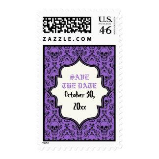 Reserva negra púrpura de Halloween del damasco de
