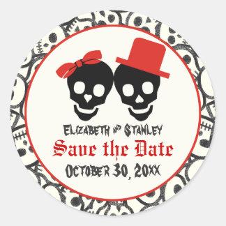 Reserva negra roja del boda de Halloween de los Etiquetas Redondas