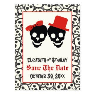 Reserva negra roja del boda de Halloween de los Postal