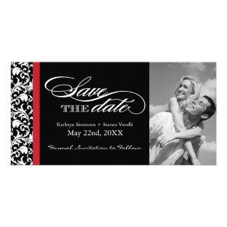 Reserva negra, roja y blanca del damasco la fecha tarjetas con fotos personalizadas