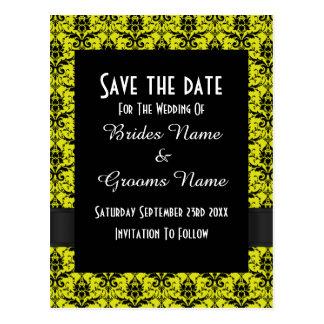 Reserva negra y amarilla del damasco la fecha postales