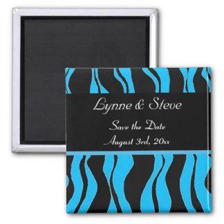 Reserva negra y azul del estampado de zebra la fec imán cuadrado