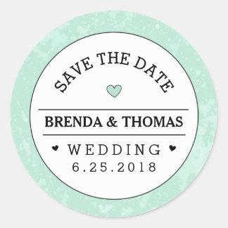 Reserva negra y blanca de la verde menta del boda pegatina redonda