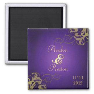 Reserva noble de la púrpura de la voluta del oro imán cuadrado