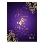 Reserva noble de la púrpura de la voluta del oro l postales