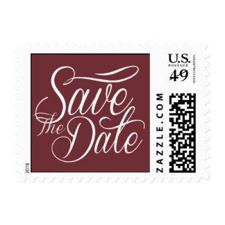 Reserva nupcial el vino de la moda de la fecha sellos postales
