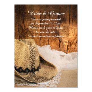 Reserva occidental de madera del boda del granero invitaciones magnéticas