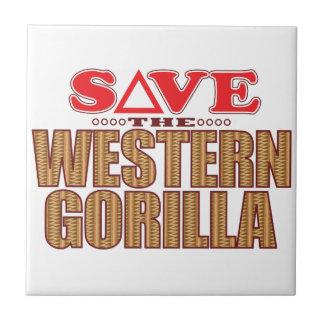 Reserva occidental del gorila azulejo cuadrado pequeño
