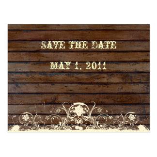 Reserva oscura de madera la fecha tarjeta postal