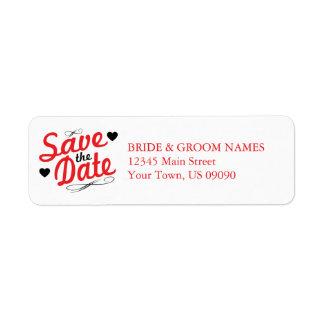 Reserva pasada de moda la fecha (rojo/negro) etiqueta de remitente