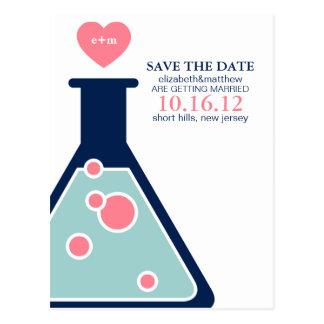 Reserva perfecta del boda de la química la fecha tarjeta postal