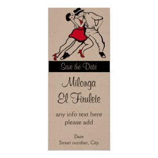 "Reserva personalizada de Milonga del tango la Invitación 4"" X 9.25"""