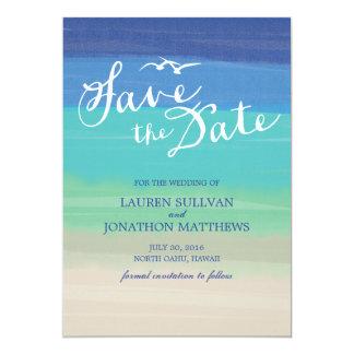 Reserva pintada el | de la arena, del mar y del invitación 12,7 x 17,8 cm