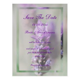 Reserva púrpura con clase del boda de la lavanda tarjeta postal
