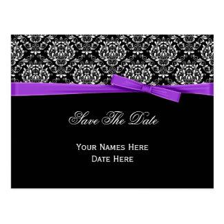 Reserva púrpura de la cinta del arco del damasco b tarjetas postales