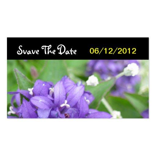 Reserva púrpura de la flor la invitación de boda d plantillas de tarjetas de visita